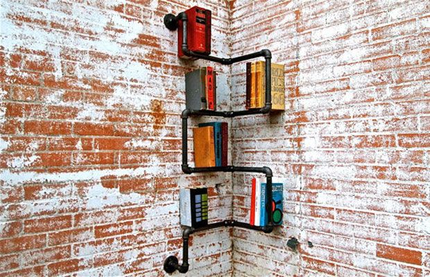 Industrial Book Shelf Made With Pipes