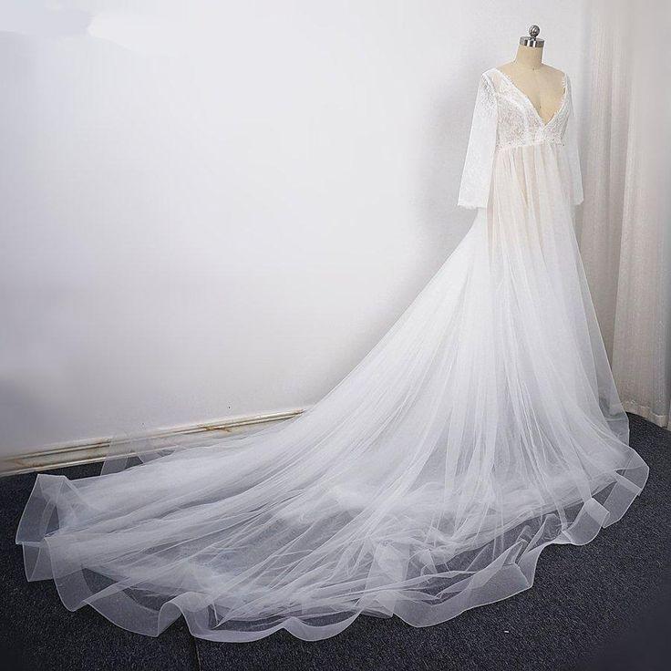 V-Ausschnitt mit langen Ärmeln rückenfreie Brautkleider, eine Linie Tüll Brautkleid – Wedding dresses