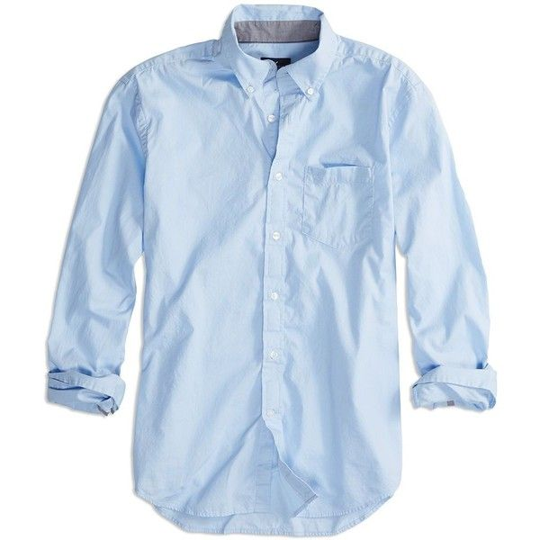 AE Factory Solid Poplin Button Down Shirt ($35) ❤ liked on Polyvore featuring men's fashion, men's clothing, men's shirts, men's casual shirts, men, tops, blue, mens navy blue button up shirt, mens button front shirts and mens tall button down shirts