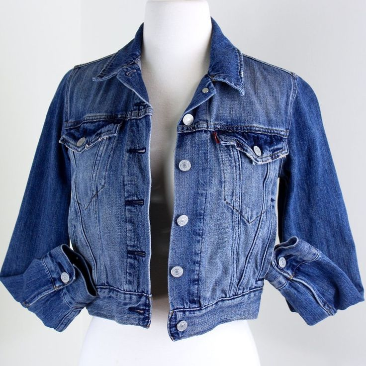 Levis Jean Jacket XS Cropped Handwarmer Pockets Distressed Motorcycle Trucker #Levis #Motorcycle #Casual