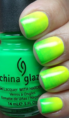 Gradient nails with China Glaze Yellow Polka Dot Bikini and then China Glaze Kiwi Cool-Ada
