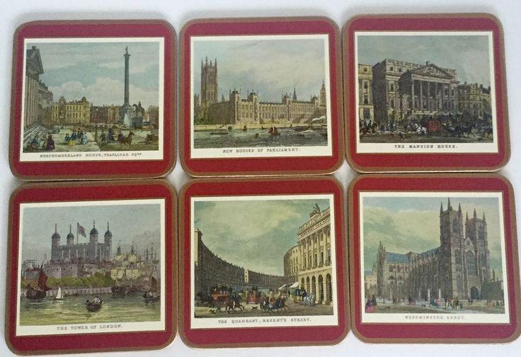 Pimpernel Cork Board Traditional Coasters England English Attractions Rare #Pimpernel