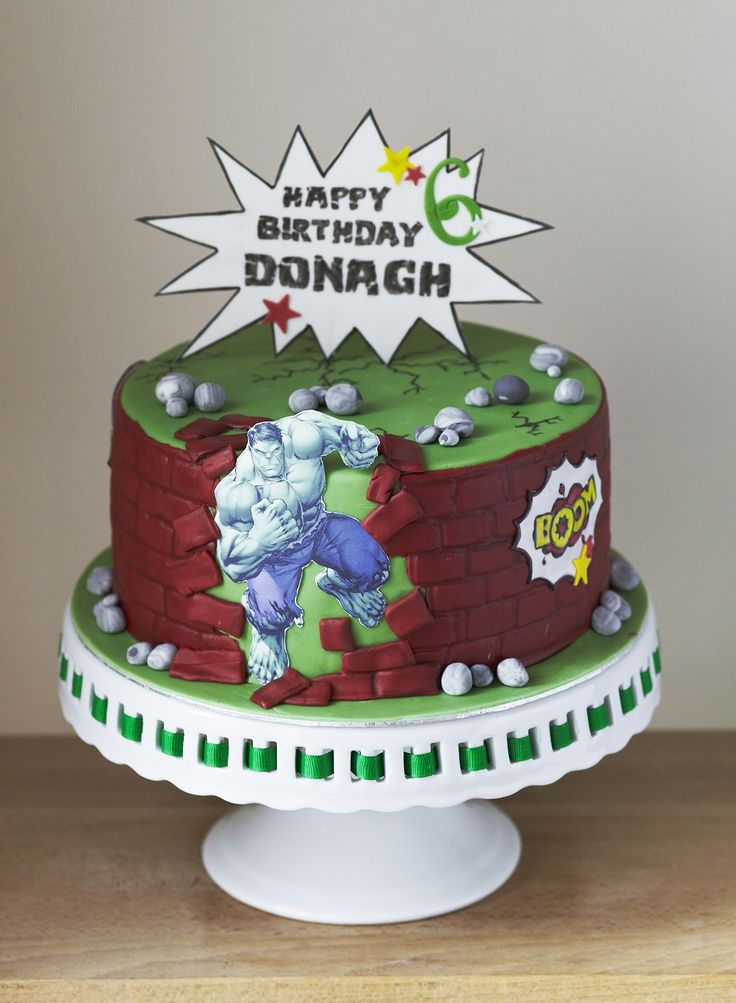 Hulk themed birthday cake