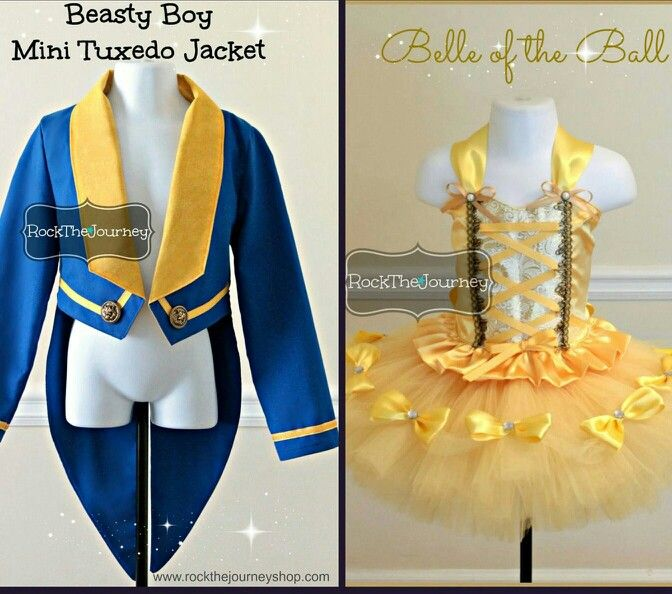 www.rockthejourneyshop.com Beauty and the Beast Birthday Party Halloween Costumes for girl boy twins siblings.