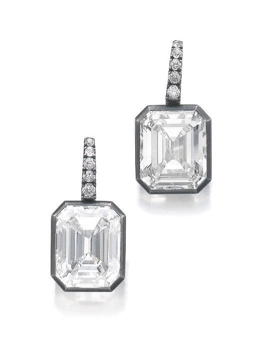Lot 509 - Pair of diamond earrings, Hemmerle