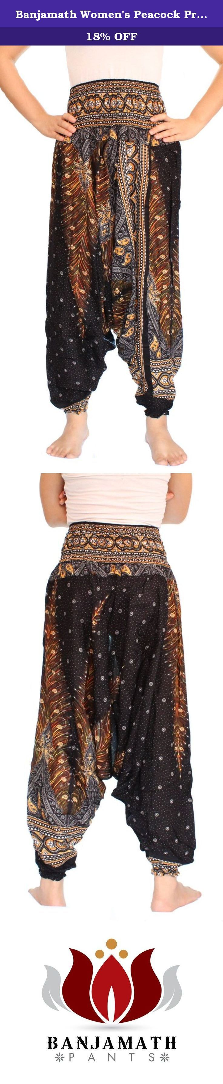Banjamath Women's Peacock Print Aladdin Harem Hippie Pants Jumpsuit (Black) One Size. These pants are awesome for holiday relaxation,yoga exercise,night wears or ordinary day. They are stylish,comfortable,easy to wear and feel relaxedly. These pant made from rayon fabric.The pants are elastic waist ankle and also one side pocket. . How to care for your Banjamath pants Our Thai Harem Pants are made from quality 100% cotton which makes them extremely comfortable. This means that they need…