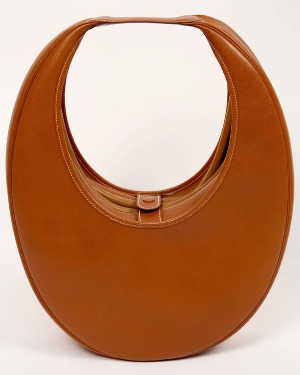 very rare 1989 HERMES courchevel leather circular 'Folies' bag 5