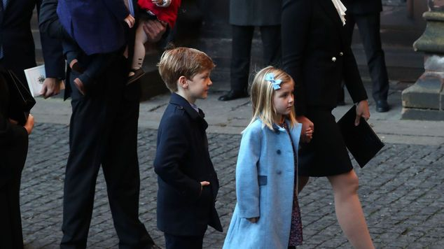 Dan Snow, his wife Lady Edwina Grosvenor and their children arriving for a memorial servic...