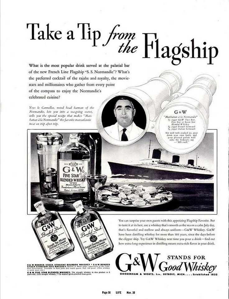 G Whiskey advertisement from Life magazine circa 1936.  Gooderham & Worts is Canadian, here pretending to be Scotch