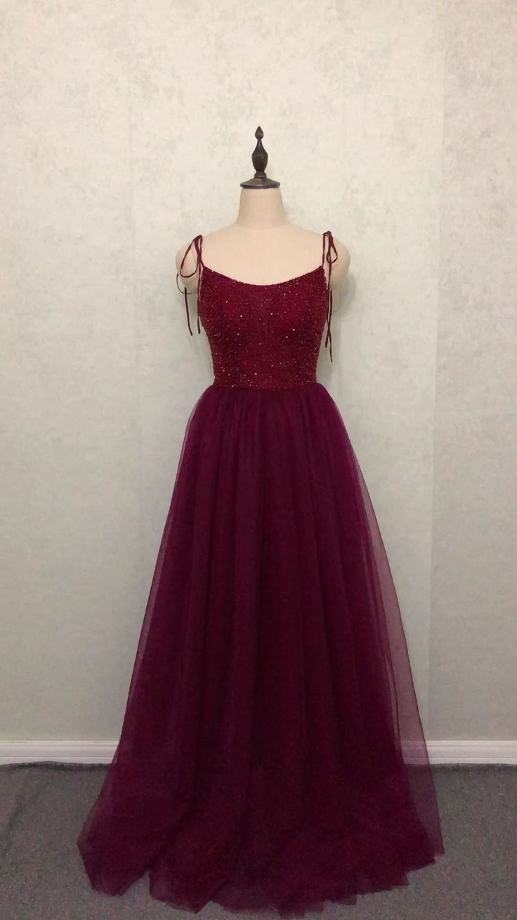 a line prom dresses abendkleid long wine red tulle beads