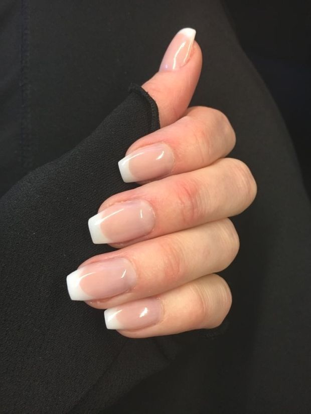 25 Classic French Manicure Short Ballerina Form Oh Yes Love For Grad I Thin Classic In 2020 French Tip Acrylic Nails French Tip Nails Ombre Acrylic Nails