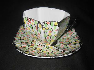 Shelley Queen Anne shape Multicoloured tea cup duo. Cup & saucer. Rare? | eBay