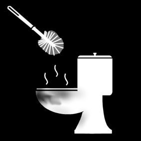 Pictogram: scrub toilet