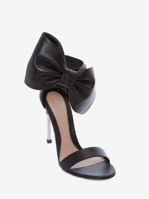 2cebe9cfbb ShopStyle: Alexander McQueen Pin Heel Leather Bow Sandal | Lovely ...