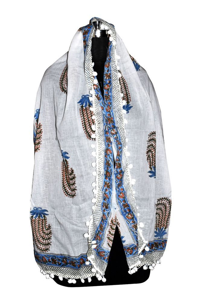 Paisley Scarves Neck Wrap Cotton Hand Block Print Scarf Sarong Stole HBS22*72c10
