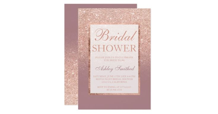A modern, pretty chic and elegant faux rose gold glitter shower ombre with dusty rose color block bridal shower party invitation with rose gold ombre pattern fading onto a dusty rose background with and elegant gold frame Perfect for a princess bridal shower.