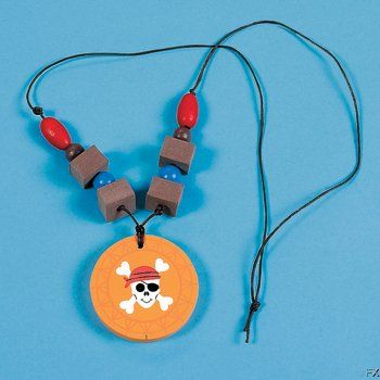 Wooden Pirate Medallion Necklace Craft....medal for winning a game?