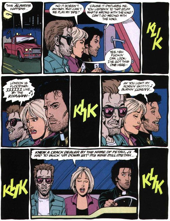 Jesse, Tulip, and Cassidy have differing tastes in music. Art by Steve Dillon from PREACHER.