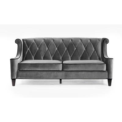Armen Living Barrister Velvet Sofa in Gray