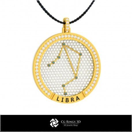 3D CAD Libra Zodiac Constellation Pendant