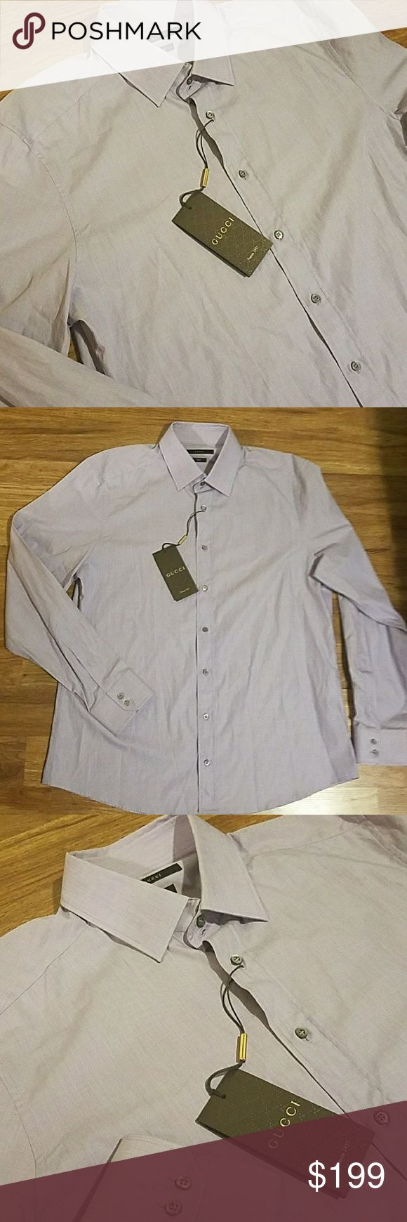 Gucci Fitted Slim Fit Lavender Purple Dress Shirt Gucci Fitted (tagged fitted) Slim Fit Mother of pearl buttons with Gucci insignia on each button Lavender Purple Made in Italy Condition Brand New With Tags msrp $295 size 17/43 tagged sleeves 32/33 Gucci Shirts Dress Shirts