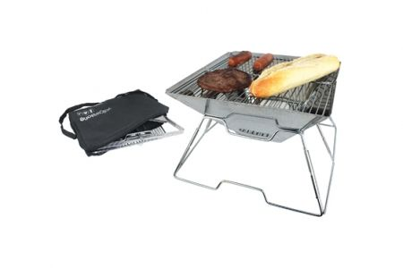 An ideal barbeque when you are tight for space.  Easy to assemble with fold out mechanism Folds down flat Stainless Steel Can be used as a Fire Pit Includes Carry Bag