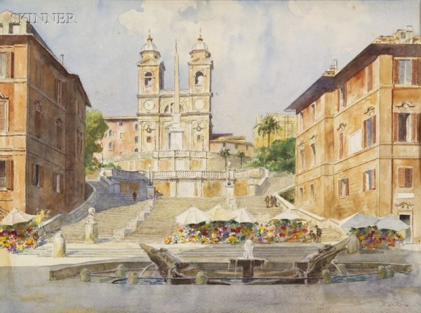 Anna Palm (1859-1924): The Spanish Steps, Rome