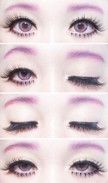 simple, kawaii pastel goth eye makeup