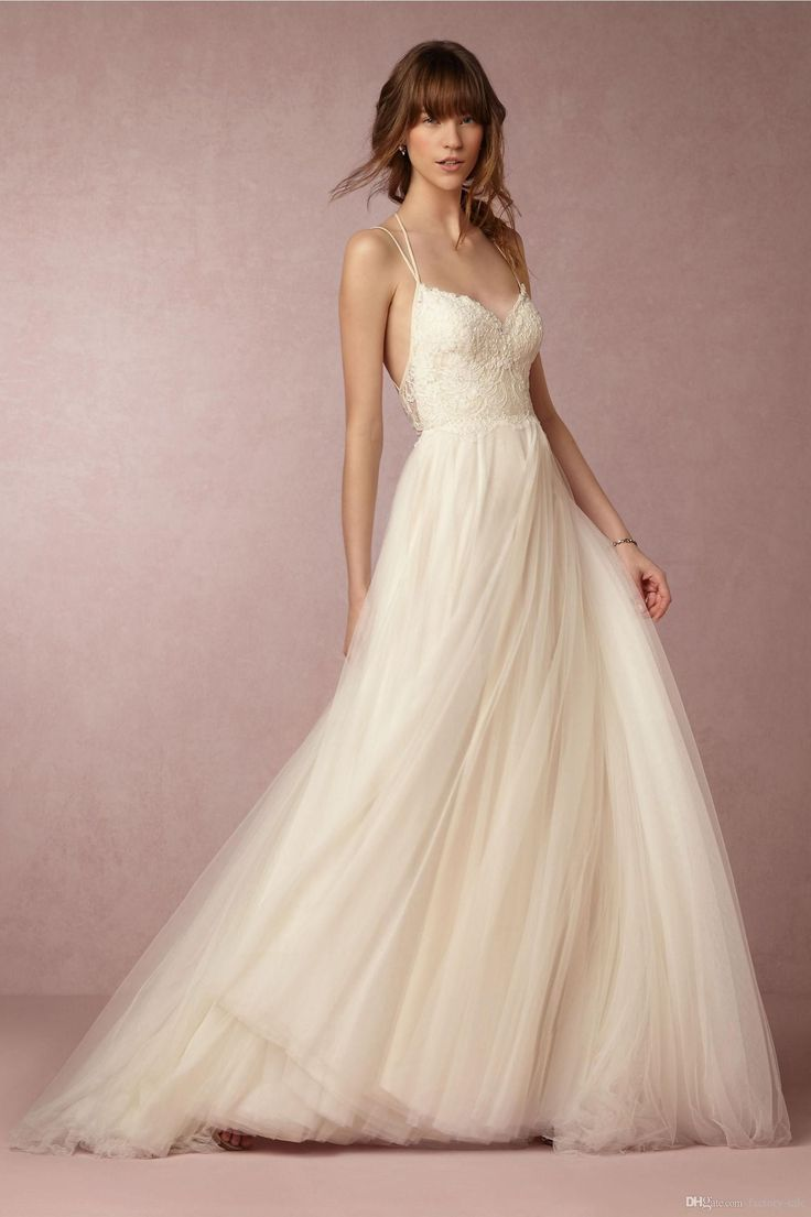 New Arrival 2017 Summer Beach Boho Wedding Dresses Sexy Backless Spaghetti Straps Long Lace Tulle Bridal Gowns Cheap Wedding Dresses Short Weding Dresses From Factory Sale, $143.38| Dhgate.Com