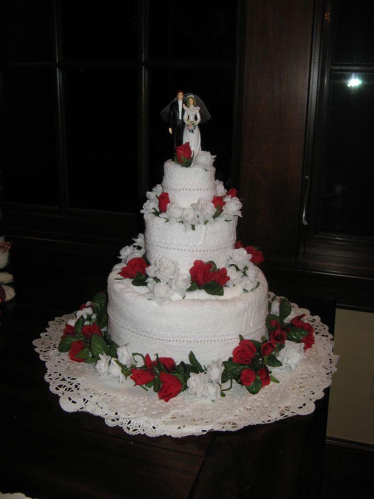 How To Make A Tea Towel Bridal Shower Cake