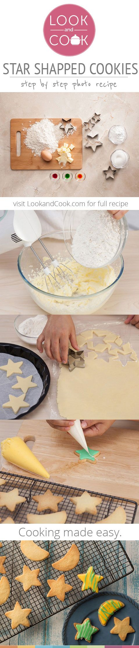 STAR SHAPED COOKIES RECIPE STAR SHAPED COOKIES(#LC14078): These delicious cookies are easy to cook and taste as good as the real. Festive, star shaped cookies are perfect for New Years! It is a great appetizer or a snack and relish!