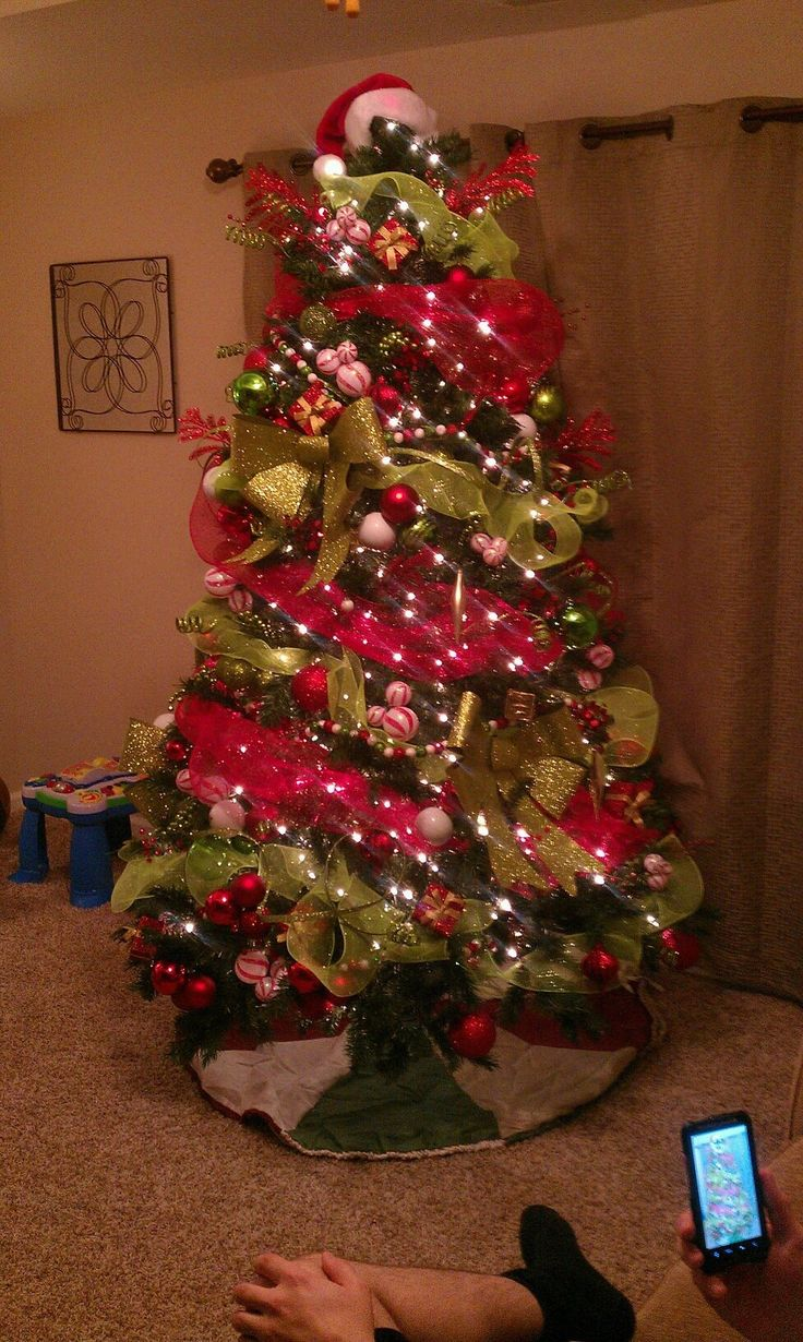 Christmas Craft Ideas 2012 Part - 26: Our Red, Green, And White Christmas Tree 2012 #christmas #tree #diy