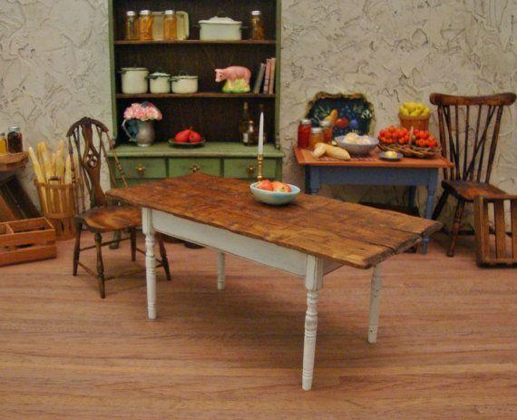 "Rough Hewn 6"" Rustic Farm Table 1:12 Scale Miniature Dollhouse Furniture"