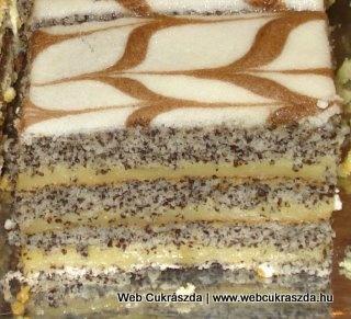 Finom mákos | Igazán különleges, mutatós sütemény, mert mákos lapokat kell sütni, majd azokat vaníliakrémmel megtölteni. Puha, finom, krémes süti lesz a végeredmény. Váradi Gabriella receptje, nagyon szépen köszönjük! Íme az elkészítése: http://webcukraszda.hu/edesseg_search.php?id=1970