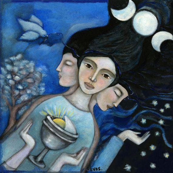 Inspirational wall art  Hecate  Spiritual art  Goddess