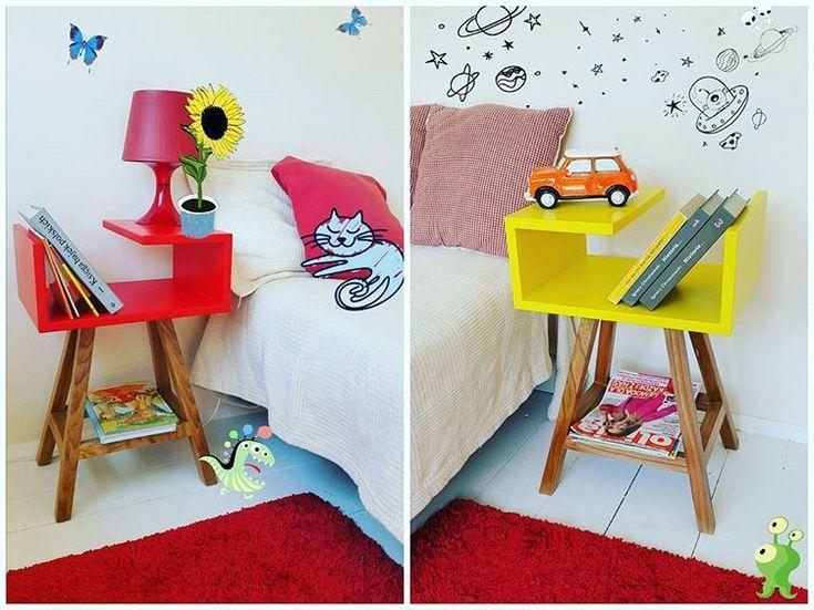 Stoliki nocne w każdym kolorze. Ręcznie wykonane według autorskiego projektu. #meble #stoliknocny #acoco #sypialnia #dziecko