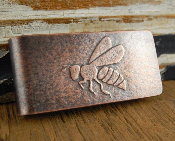 Honeybee money clip bee money clip copper handmade by erinbowe