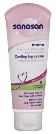 Sanosan Охлаждающий крем для ног в период беременности 100 мл  — 355р.   Охлаждающий крем для ног Sanosan быстро снимет ощущение усталости и тяжести. Ментол охлаждает и снимает отечность ног, хорошо ухаживает за кожей стоп и голеней, дарит чувство легкости. Натуральные масла качественно смягчают кожу, питают ее и увлажняют, надолго сохраняя баланс влажности.  Состав: основа, вода, натуральные масла, экстракт арники и ментол. Не содержит красителей и парафинового масла.