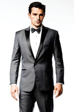 The Roma. A killer look. Charcoal grey tuxedo with black lapels and a black tuxedo pant stripe | menguin.com
