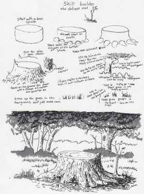 Adron's Art Lesson Plans: Drawing a Picture of a Tree Stump a Skill Builder ...
