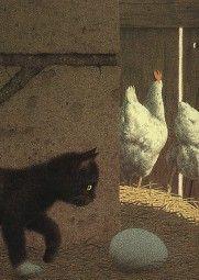 """Im Hühnerstall.    Postkarte. Illustration aus dem Buch """"Nero Corleone"""" von Elke Heidenreich mit Bildern von Quint Buchholz, Carl Hanser Verlag  Künstler: Quint Buchholz"""