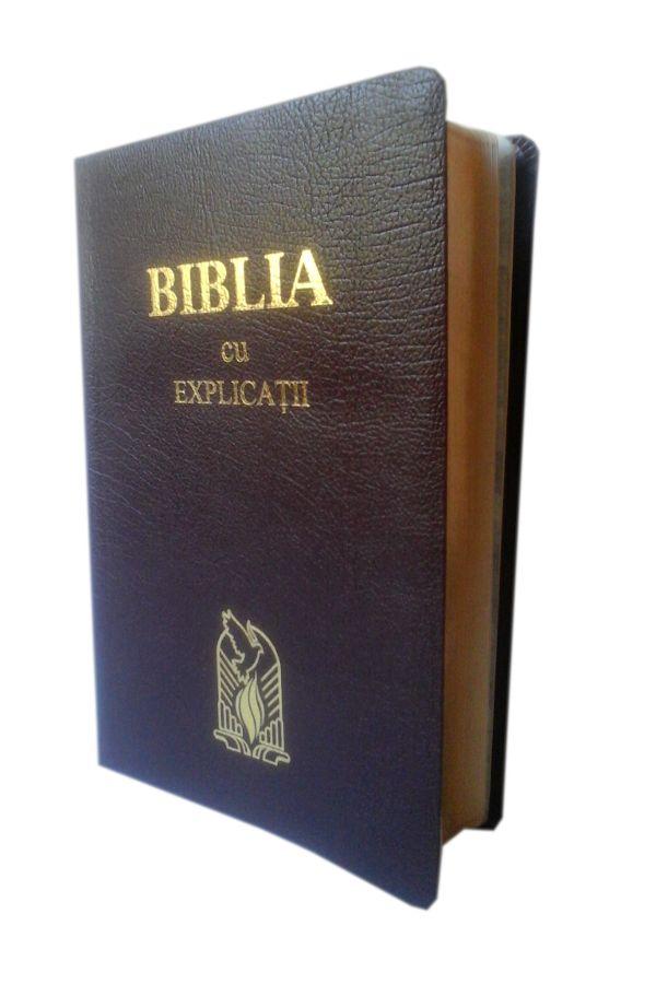 Biblia de lux, cu explicatii, concordanta, piele, visinie, margini aurite [CO 77 T]