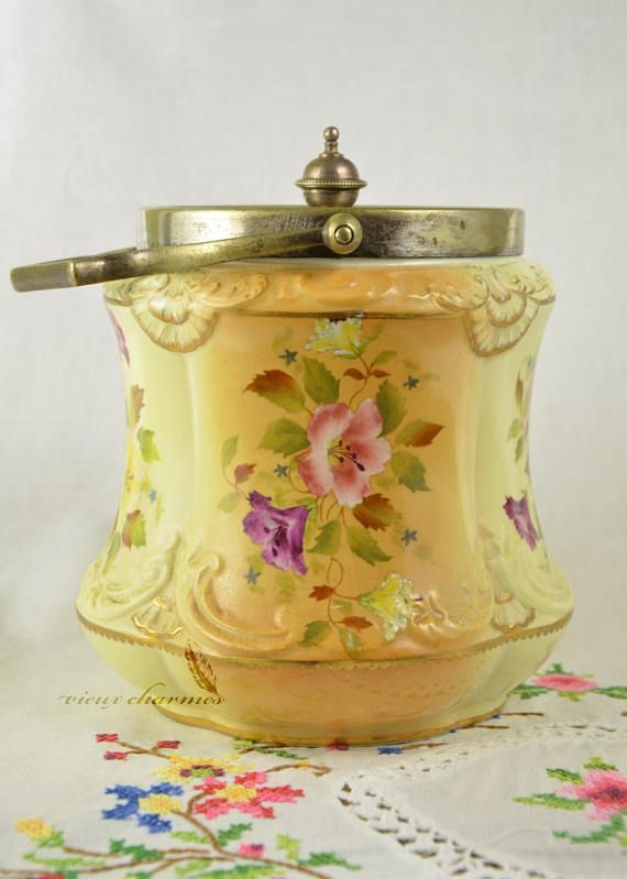 Carlton Ware biscuit barrel hand painted