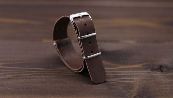 Handmade chocolate brown leather nato watch strap by MrHaidukoff
