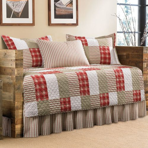 Features:  -Camano Island collection.  -Bedskirt with overlap edges.  -Machine washable.  Product Type: -Daybed set.  Size: -Daybed.  Style: -Country/Cottage.  Color: -Red, khaki.  Pattern: -Patchwork                                                                                                                                                     More