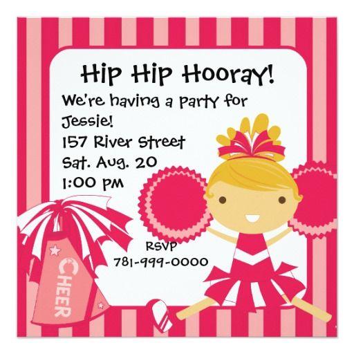 432 best cheerleader birthday party invitations images on pinterest krw pink cheerleader 2 sided birthday invitation stopboris Image collections
