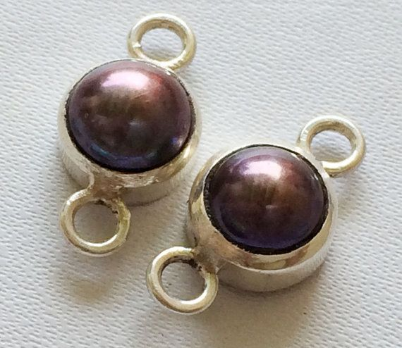Purple Pearl Connector Matched Pairs Pearl 925 by gemsforjewels