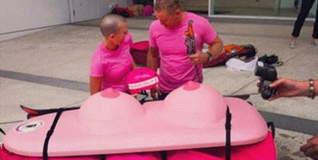 Gold Coast veterinarian Geoff Wilson & friend Kate Carlile reveal the 'Boob Sled' designed to carry Dr. Wilson across Antarctica in efforts to raise $1 million for the McGrath Foundation to fight breast cancer (© @FifthElementExp via Twitter)
