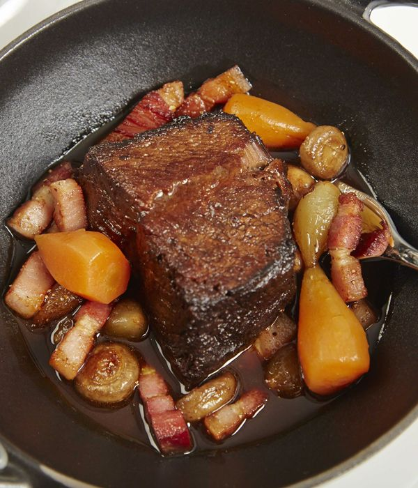 Eric Chavot presents another French classic in this daube de boeuf recipe. The 'daube' in the title comes from the French 'daubière' - a kind of braising pot used for the long, slow cooking of less tender cuts of meat. This recipe uses beef featherblade to continue this tradition, a much overlooked cut that offers just as much flavour as more expensive alternatives when cooked correctly.