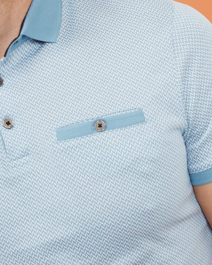 Herringbone jacquard polo shirt - Light Blue | Tops & T-shirts | Ted Baker UK